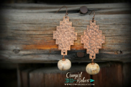Sonoita Rustic Southwest Hammered Copper Earrings - Cowgirl Relics