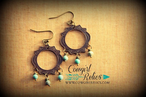 Coyanosa Rustic Chandelier Western Earrings - Cowgirl Relics
