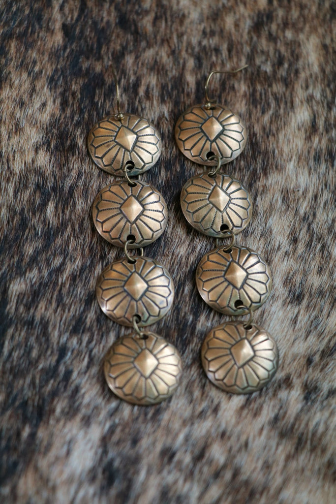 Diamondback Brass Western Concho Earrings - Cowgirl Relics
