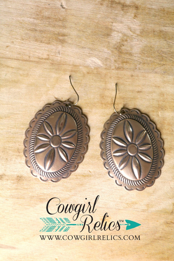 Gold Rush Western Concho Earrings - Cowgirl Relics