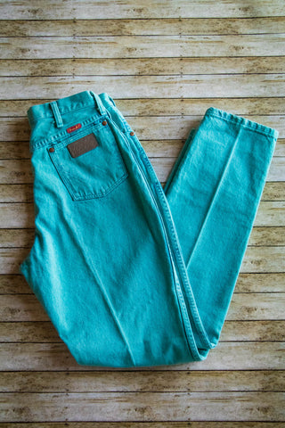 Vintage Turquoise Wrangler Jeans - Cowgirl Relics