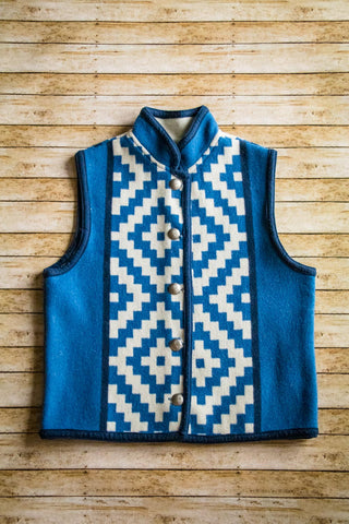 Vintage Reversible Southwest Wool Vest - Cowgirl Relics