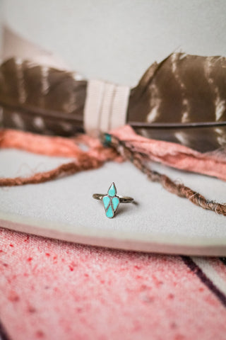 Vintage Turquoise Inlay Ring - Cowgirl Relics