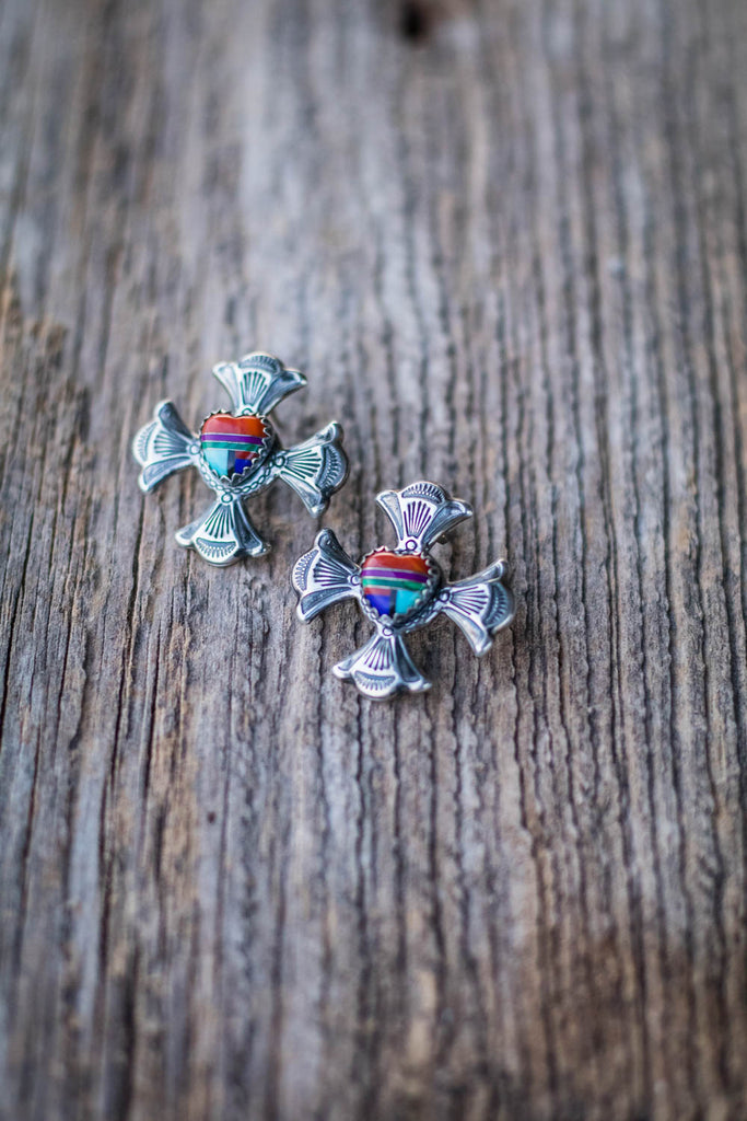 Vintage Sterling Silver and Inlay Heart Cross Earrings - Cowgirl Relics