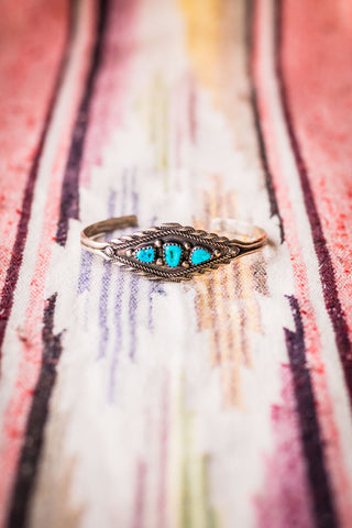 Vintage Navajo Sterling Silver and Turquoise Cuff - Cowgirl Relics
