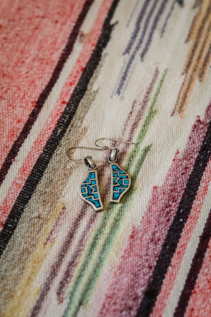Sterling Silver and Turquoise Chip Inlay Earrings - Cowgirl Relics