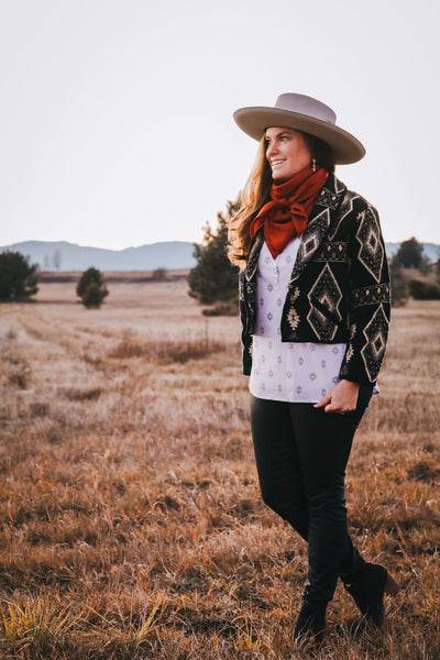 Vintage Black and White Southwest Jacket - Cowgirl Relics