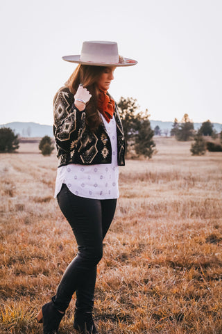 Vintage Black and White Southwest Jacket