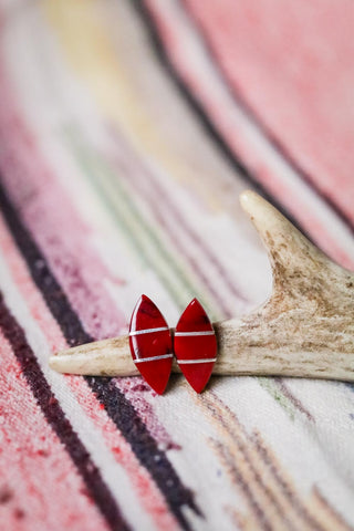 Vintage Coral Inlay Earrings - Cowgirl Relics