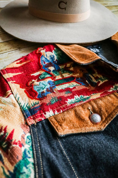 Vintage Denim and Cowboy Print Jacket - Cowgirl Relics