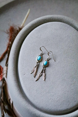 Vintage Sterling Silver and Turquoise Feather Earrings