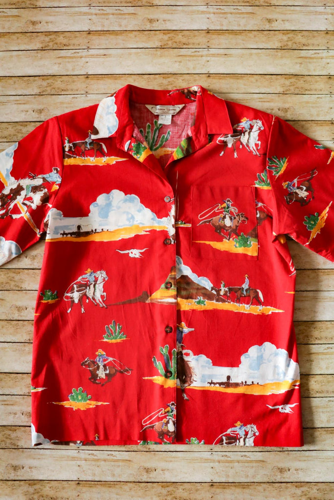Vintage Cowboy Print Shirt - Cowgirl Relics