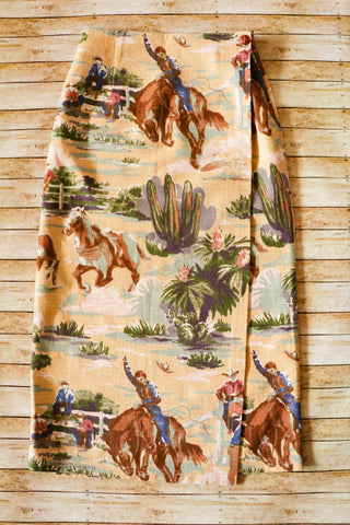Vintage Cowboy Print Wrap Skirt - Cowgirl Relics
