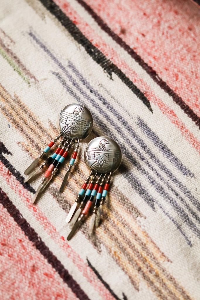 Vintage Southwest Thunderbird Earrings - Cowgirl Relics