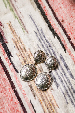 Vintage Southwest Concho Earrings - Cowgirl Relics