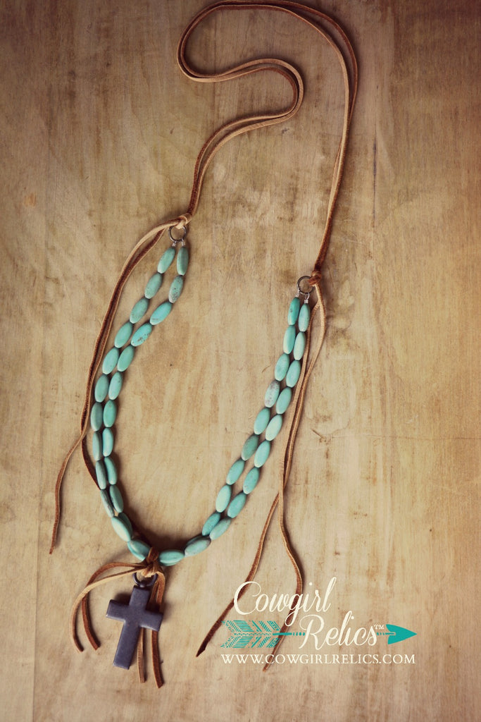 Jayton Necklace-Turquoise, Rustic Cross, and Deerskin Necklace - Cowgirl Relics