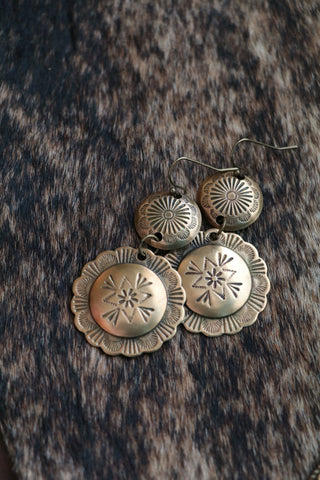 Panhandle Brass Concho Earrings - Cowgirl Relics