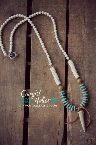 Powderhorn Western Antler Shed Necklace - Cowgirl Relics