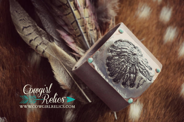 Red Cloud Headdress Bold Western Leather Cuff - Cowgirl Relics