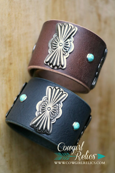Nomad Butterfly Concho Western Leather Cuff - Cowgirl Relics