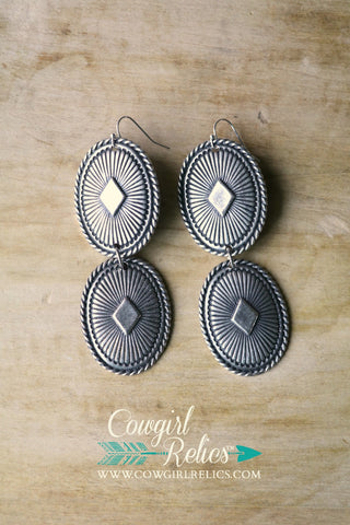 Vegas Silver Concho Earrings - Cowgirl Relics