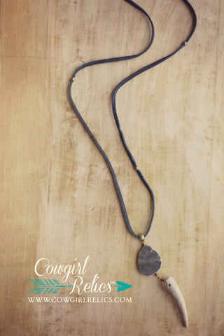 West Fork Rustic Pyrite and Antler Shed Leather Necklace - Cowgirl Relics