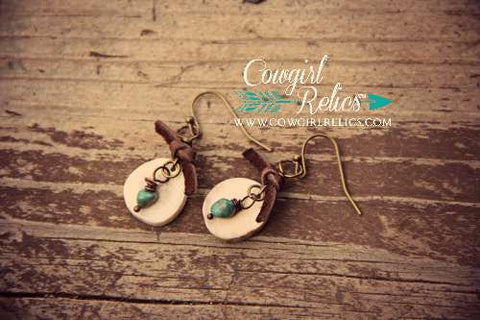 Rustic Antler Sliver Earrings w/Turquoise - Cowgirl Relics