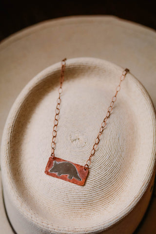 copper and silver armadillo western necklace