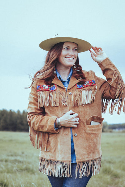 Vintage Beaded Suede Fringe Western Jacket With Fur Collar - Cowgirl Relics