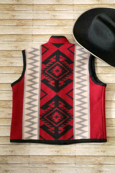 Vintage Reversible Southwest Wool Vest Black and Red - Cowgirl Relics