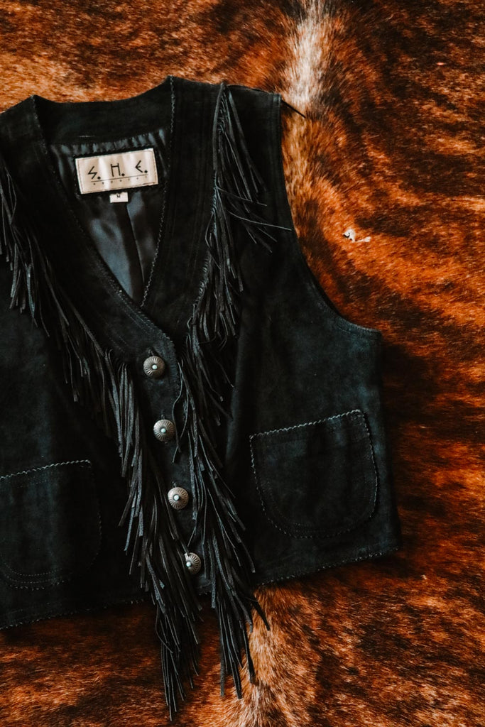 vintage black suede leather fringe western southwest boho vest medium