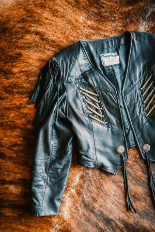 vintage pioneer wear black leather fringe jacket