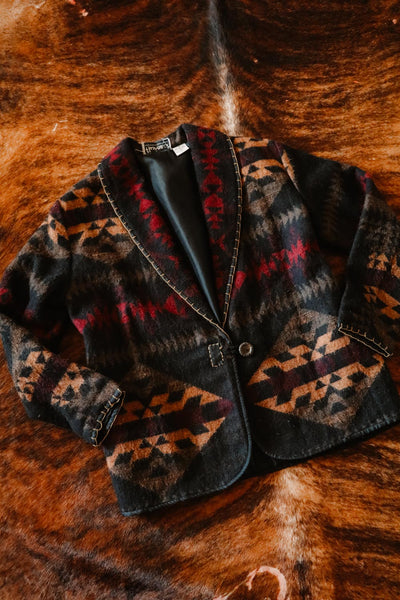 vintage black tan red southwest print blazer