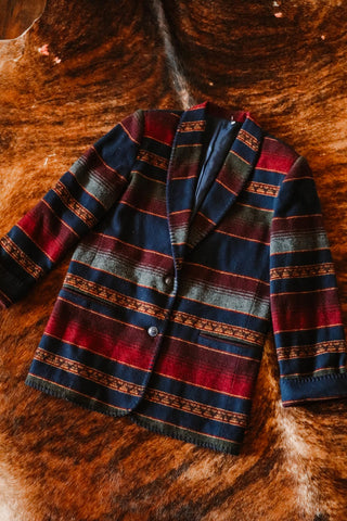vintage southwest striped southwest western blazer
