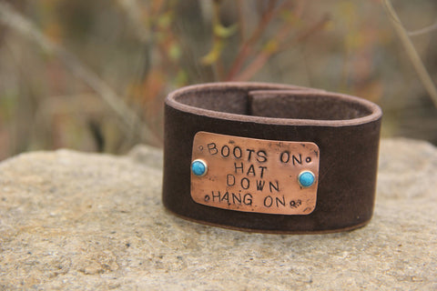 Rodeo Leather Cuff-Boots On, Hat Down, Hang On - Cowgirl Relics