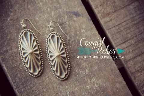 Bozeman Brass Concho Earrings - Cowgirl Relics