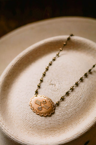 brass thunderbird concho western choker necklace