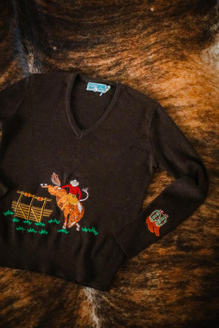 vintage embroidered western bucking horse cowboy sweater