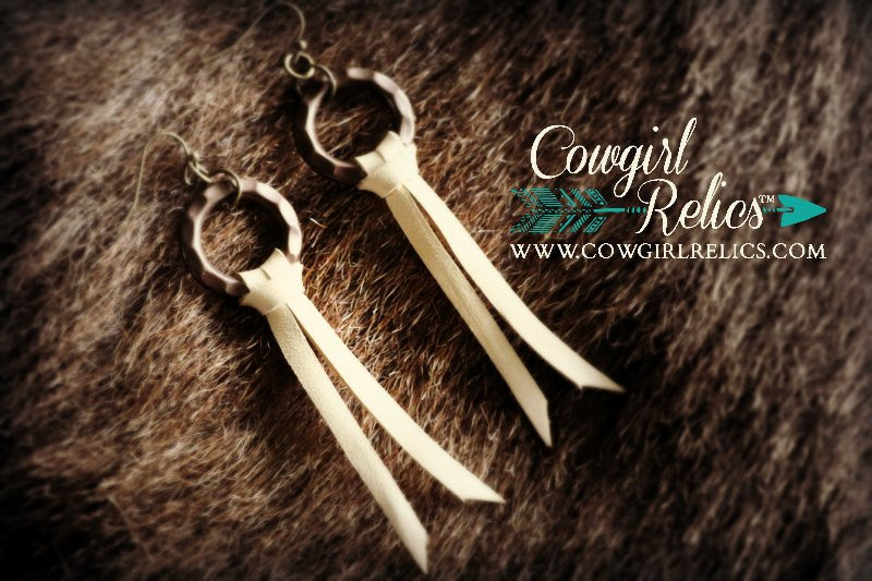 Buckskin Brass & Leather Earrings - Cowgirl Relics