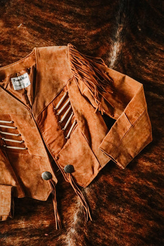 vintage southwest pioneer wear fringe and bone hair pipe cognac suede fringe jacket large