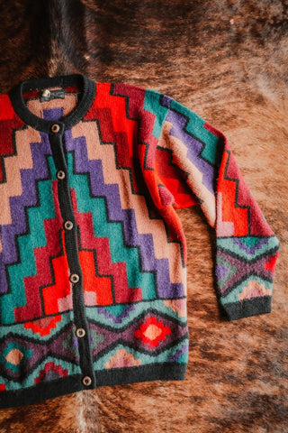 vintage colorful alpaca wool southwest cardigan