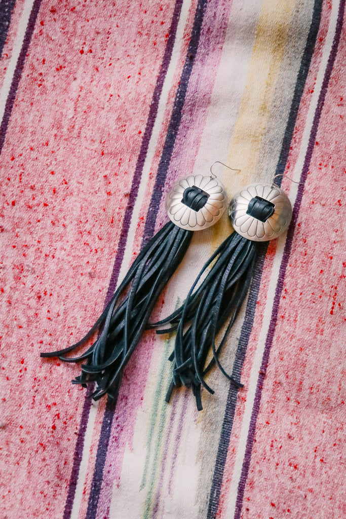 Deerskin Leather Fringe and Concho Earrings