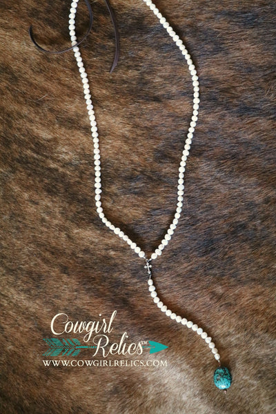 Corazon Rosary-Style Elegant Pearl and Turquoise Necklace - Cowgirl Relics