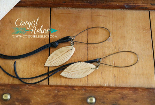 Cottonwood Carved Bone Feather and Leather Earrings - Cowgirl Relics