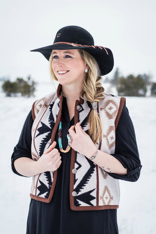 Vintage Reversible Wool Southwest Vest Black and Tan - Cowgirl Relics