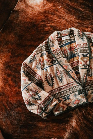 vintage tan and earth tone southwest print tapestry jacket