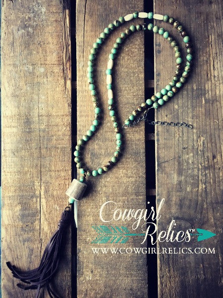 Crenshaw Rustic Western Necklace--Turquoise, Fringe, Antler Shed - Cowgirl Relics