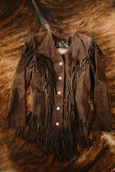 Vintage Chocolate Brown Suede Leather Fringe Jacket