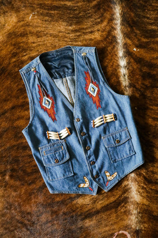 Vintage Southwest Denim Vest
