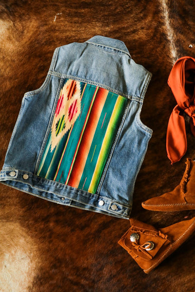 Vintage Denim and Serape Southwest Vest